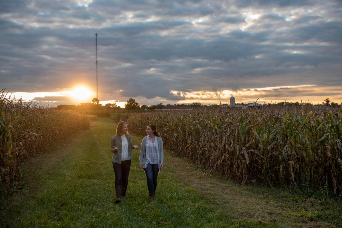 teacher and student walking in a field